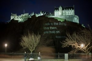 Carry a Poem, Castle projection © City of Literature. Photo by Chris Scott
