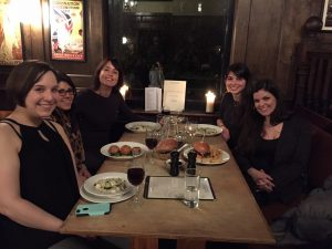 2 Seas 'reunion' dinner during the LBF. Fltr: Jena Fleiner, Chrysothemis Armefti, me, Giulia Trentacosti and Monica Calignano